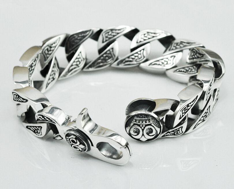 Thai argent original à la main bijoux en argent 925 sterling argent dominateur vintage Chaîne & Lien bracelets