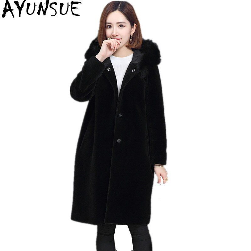 AYUNSUE 2018 Women Real Sheep Shearing Fur Coat Fox Fur Collar Hooded Coats Medium-Long Winter Jacket Plus Size S-5XL WYQ768