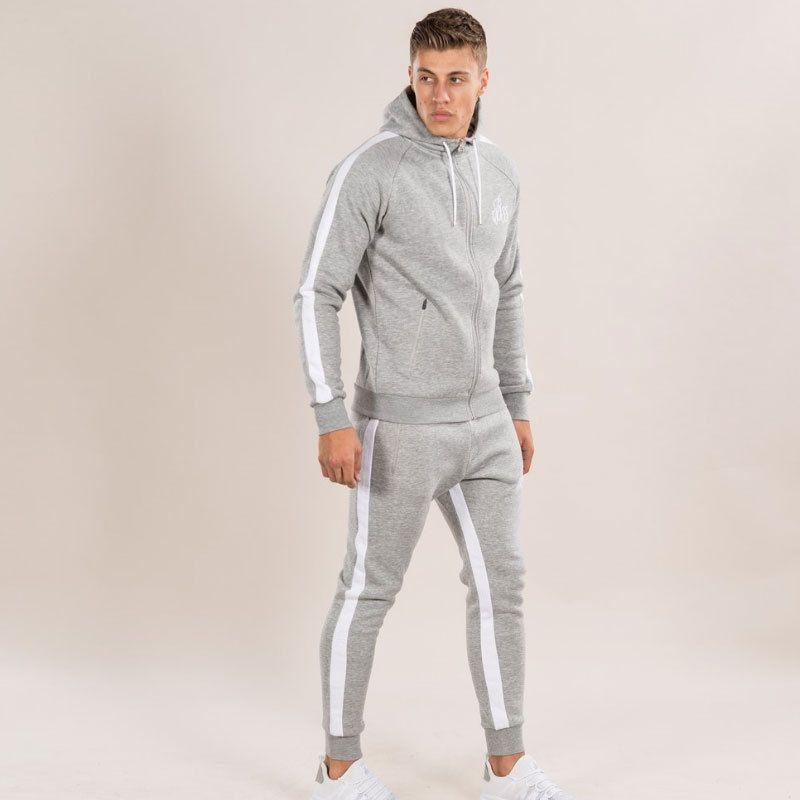 Hommes Ensembles 2017 Mode À Manches Longues Slim Survêtements Hoodies Survêtement Sweat Deux Pantalons Pièce mâle veste + Pantalon Exercice