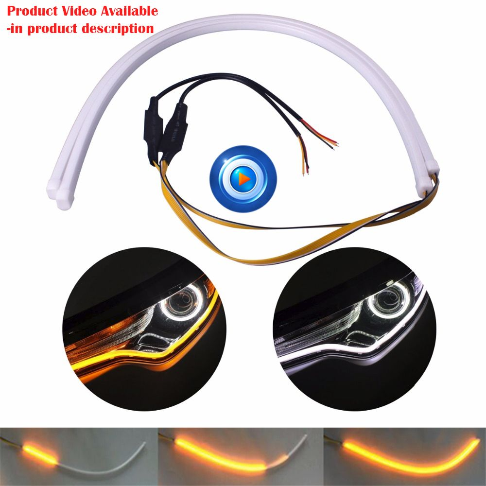2X60CM Car-styling Car Strip Light  White  and Yellow Flowing Daytime Running Light  Flexible Headlight Strip Tube For Bmw Audi
