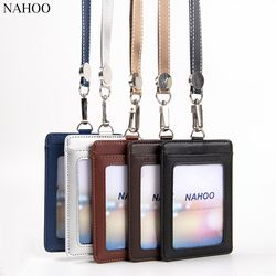 NAHOO Lanyard Id Badge Pemegang Pemegang Kartu Nama Tag Plastik Badge Real Kulit Vertikal Kasus Kartu Kredit Bus Perlengkapan Kantor