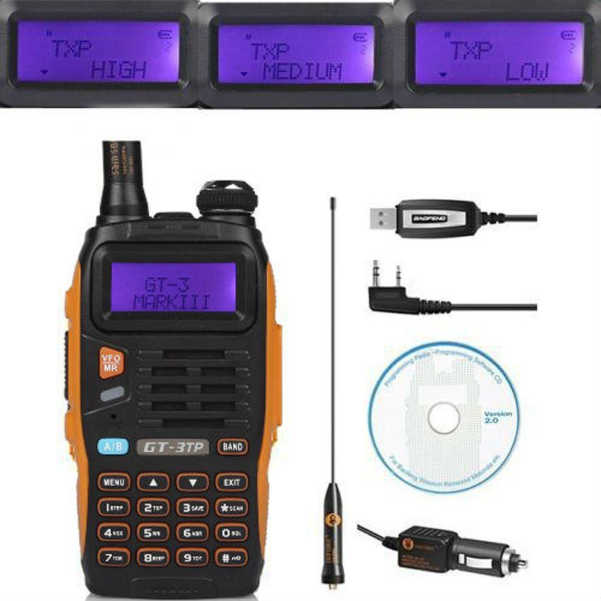 Baofeng GT-3TP MarkIII TP 1/4/8 Watt Haute Puissance Double-Bande 2 M/70 cm Ham Two-way Radio Talkie Walkie avec Programmation Câble CD