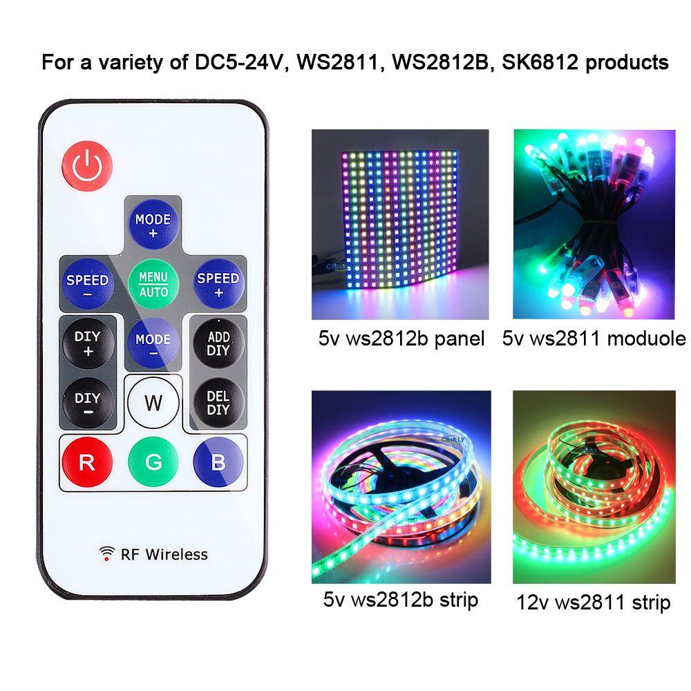 WS2812B Pixel contrôleur RGB contrôle WS2811 SK6812 300 types de changements sans fil RF numérique bande LED couleur lumière DC 5 V-24 V