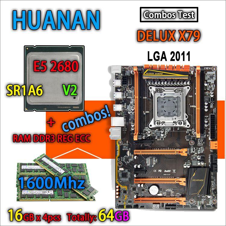 HUANAN golden Deluxe version X79 gaming motherboard LGA 2011 ATX combos E5 2680 V2 SR1A6 4 x 16G 1600Mhz 64GB DDR3 RECC Memory