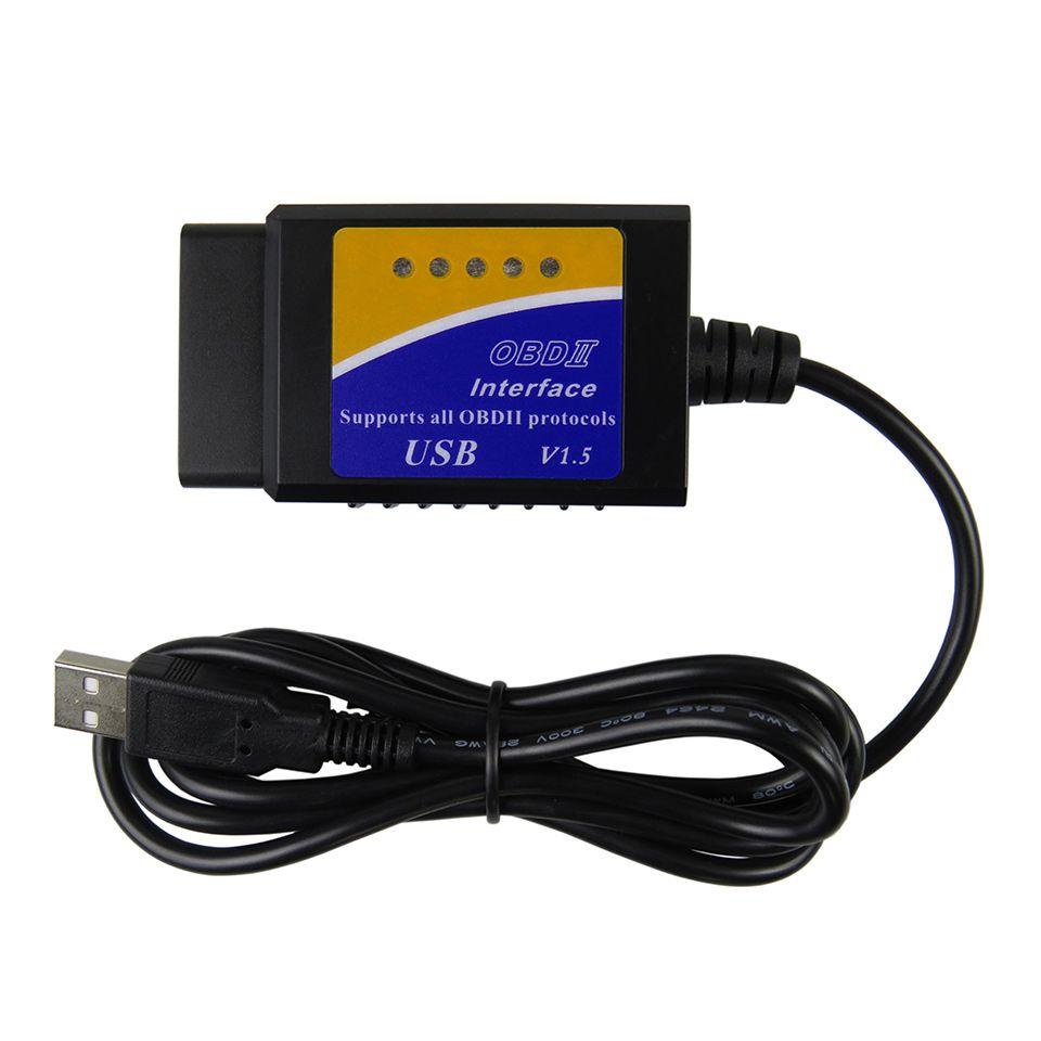 Elm327 USB OBD2 OBDII Scanner orme 327 USB V1.5 voiture outil de Diagnostic Interface Scanner orme-327 V 1.5 OBD 2 outil de Diagnostic
