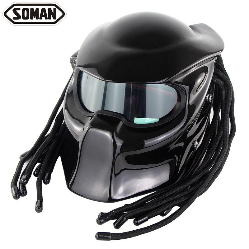 Predator Full Face Casque Motor Motorrad Helm Fiberglas Ironman Braid Verspa DOT zertifizierung Soman 957