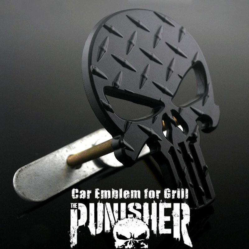 Décoration de tête de voiture noir punisseur crâne insigne de voiture emblème plaque de diamant pour Auto Grille avant à venir de l'âge cadeau de cérémonie