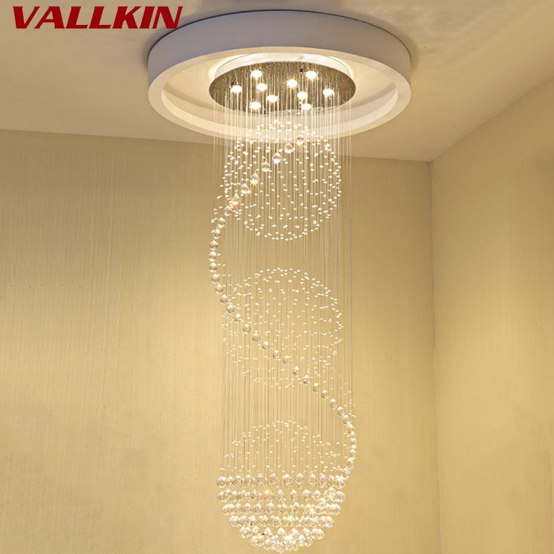 Modern Stair Lighting Crystal Chandeliers Light Luxury Lamps Spiral Staircase Lights Lustre Cristal Chandelier Ceiling Deco Lamp