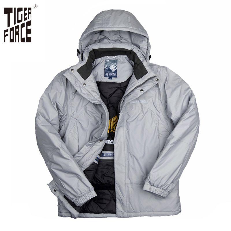TIGER FORCE 2017 Hommes De Mode Rembourré Manteau D'hiver Coton Veste À Capuche Parka Manteau D'hiver Mâle Solide Zipper Livraison Gratuite 7663