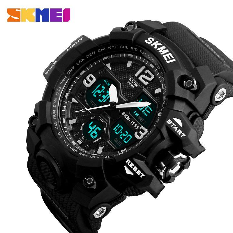 SKMEI New Fashion Men Sports Watches Men <font><b>Quartz</b></font> Analog LED Digital Clock Man Military Waterproof Watch Relogio Masculino 1155B