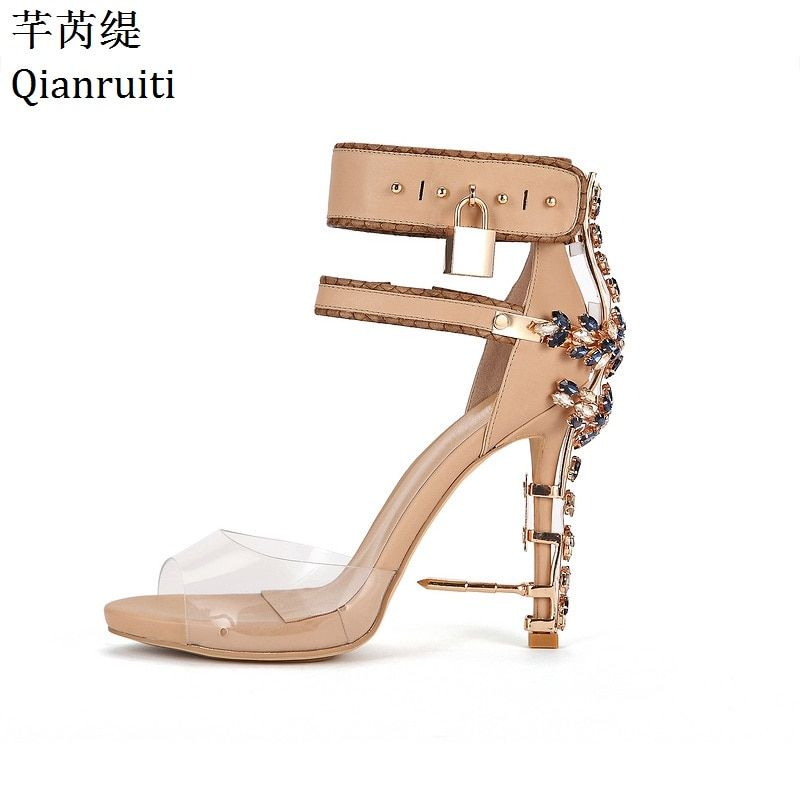 Qianruiti Transparent PVC Ankle Strap Women Pumps Rome Style Padlock High Heels Gladiator Sandals Studded Crystal Women Shoes