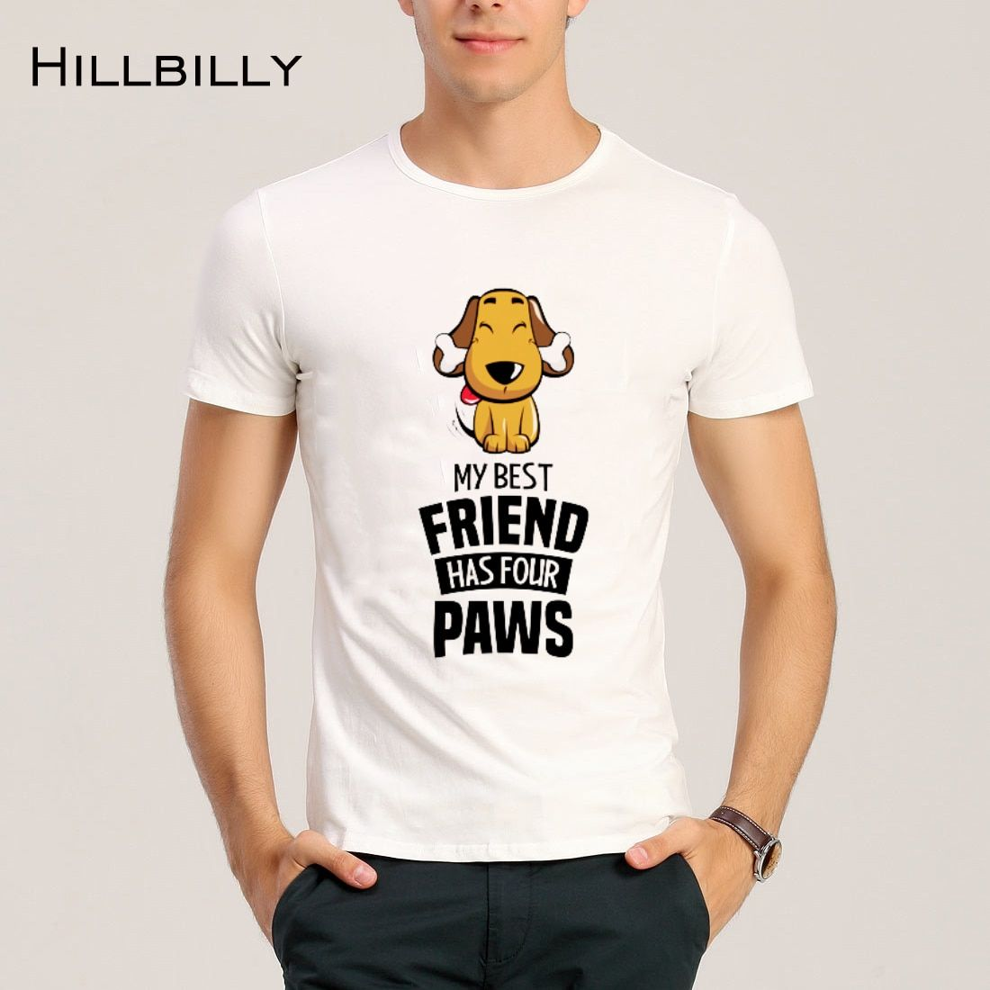 2017 Summer New Fashion Funny Cartoon Style Dog Printed T shirt Hillbilly Modal O-Neck Broadcloth Wild Street Man Casual T-shirt