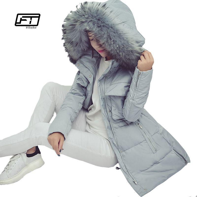 new winter women jacket medium-long thickening slim quality large raccoon fur collar duck down coat female snow outerwear