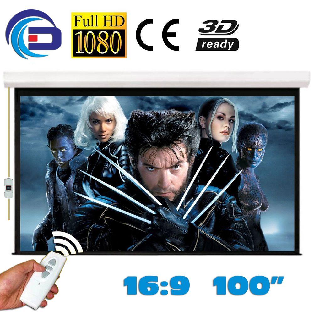 HD Écran de Projection Électrique 100 pouce 16:9 Écran De Projection Motorisé pantalla proyección Mat Blanc pour LED LCD HD Film