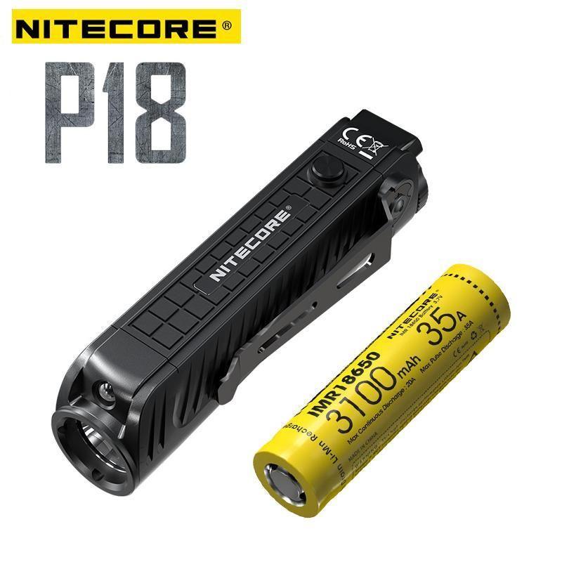 Nitecore P18 Unibody Sterben-fall Futuristischen CREE XHP35 HD LED 1800 Lumen mit Hilfs Rot Licht Taktische Taschenlampe