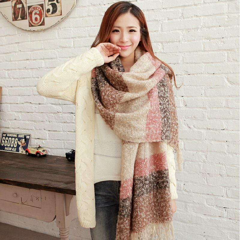 SELLWORLDER 2017 Women Winter Mohair Scarf  Long Size Warm Fashion Scarves & Wraps For Lady Casual Patchwork Accessories