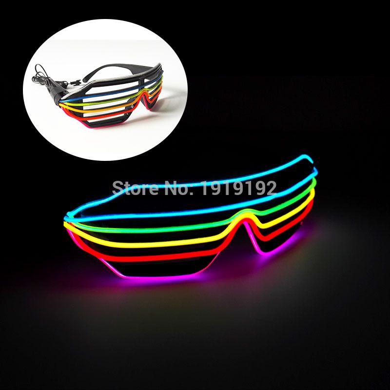 6 ou 7 Couleur Clignotant EL LED Lunettes Lumineux Partie Éclairage Rougeoyant coloré Classique Jouets Pour De Danse DJ, Partie Masque par 3 V Pilote