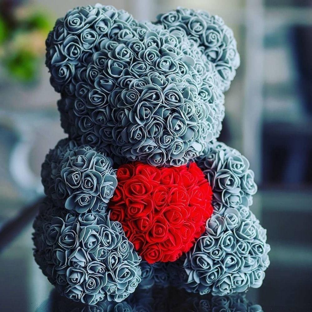 2018 Hot Sale 40cm Bear of Roses Artificial Flowers Home Wedding Festival DIY Cheap Wedding Decoration Gift Box Wreath Crafts