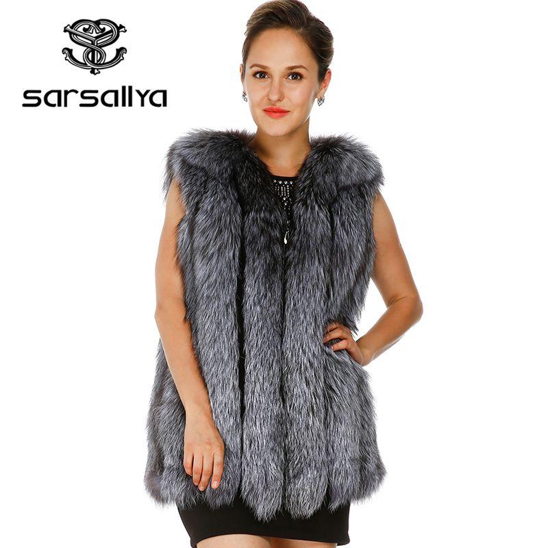 SARSALLYA 2016 new fox fur vest winter coat women natural fur winter dress casual real fur real fur vest winter jacket women