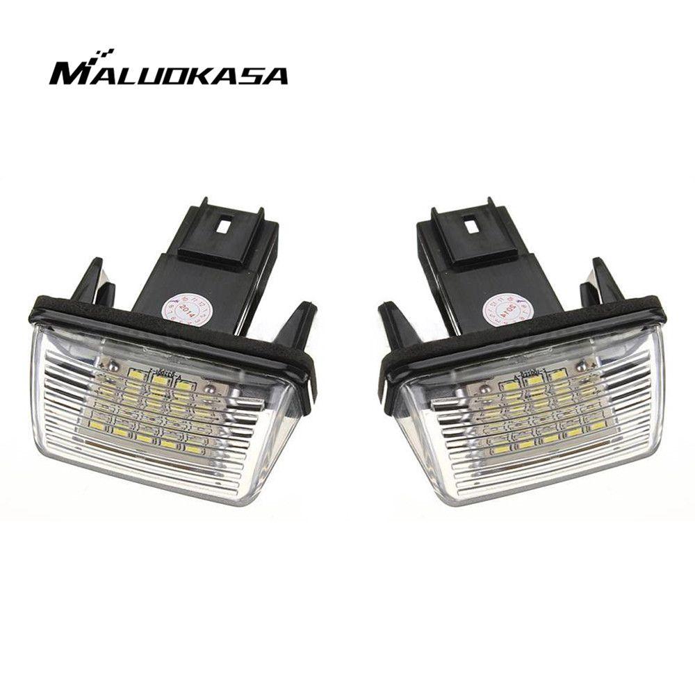 MALUOKASA 1Pair NO ERROR Atuo LED Number License Plate Light Rear Lamp for PEUGEOT 206 207 306 307 CITROEN C3 C4 C5 Car Styling