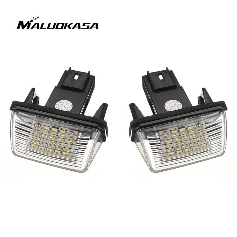 MALUOKASA 1Pair NO ERROR Atuo LED Number License Plate Light Rear Lamp for <font><b>PEUGEOT</b></font> 206 207 306 307 CITROEN C3 C4 C5 Car Styling