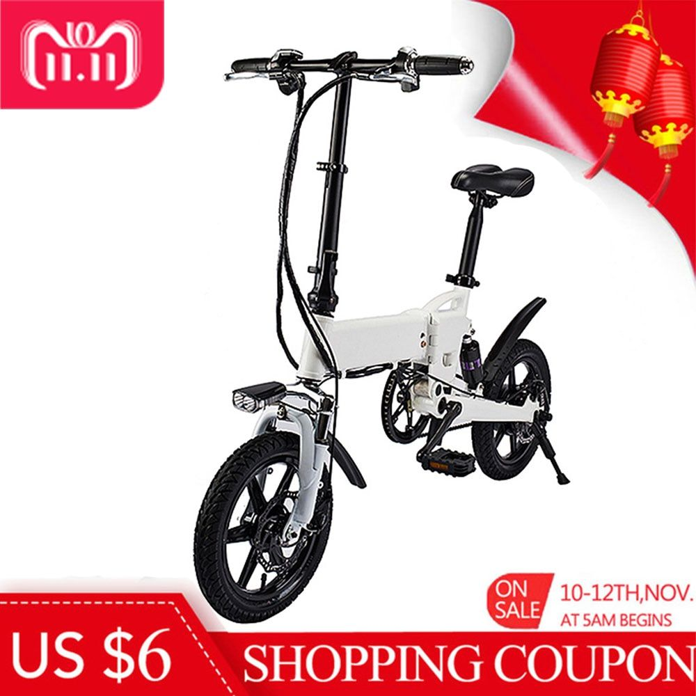 NO TAX Smart Folding Electric Bike 14 Inch Inflatable Rubber Tire Double Disc Brakes 5.2Ah Battery EU Plug Electric Bicycle