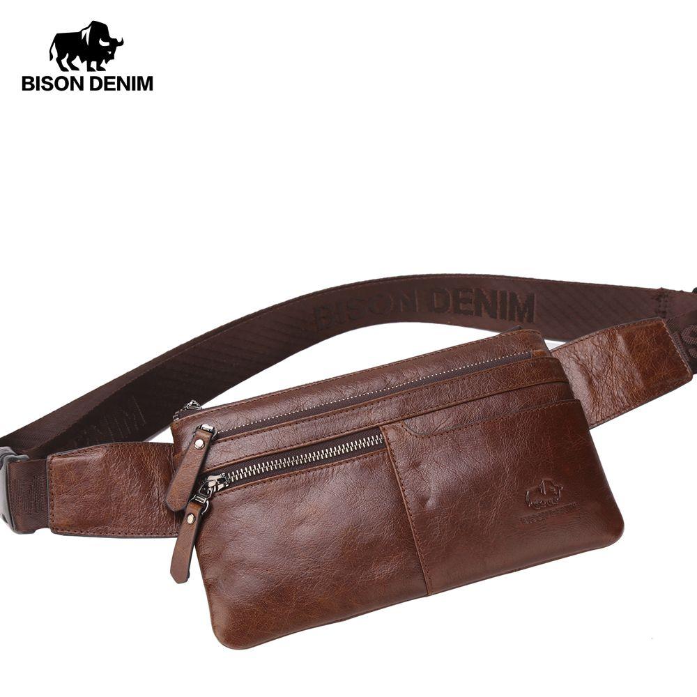 Sac de taille en cuir BISON DENIM sac de taille en cuir véritable Ipad Mini sac de taille en peau de vache sac de ceinture d'argent pochette de taille pour hommes sac W2443