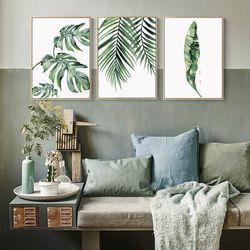 BIANCHE MUR Nordique Petit Vert Plantes Plantes Tropicales Grandes Feuilles Affiche Mur Art Toile Peinture Image pour La Décoration Intérieure