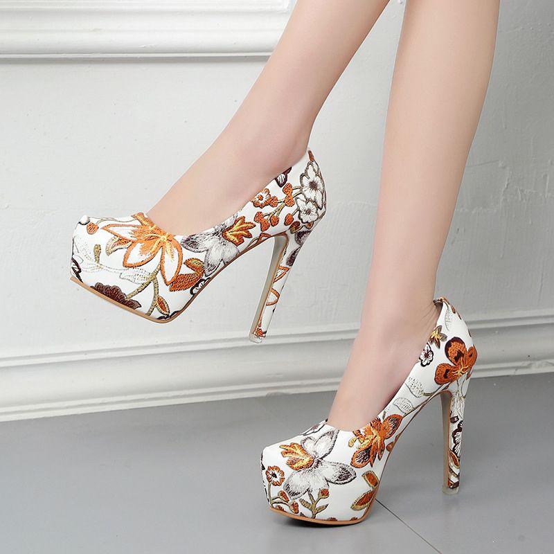 Women Fashion Pumps 13CM Printing Platform Women Shoes High Heels Sexy Thin Heels High Bling Shoes Ladies zapatos para mujer
