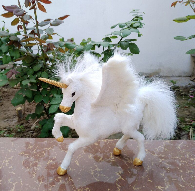 cute simulation unicorn model resin&fur white wings unicorn doll about 23x14x20cm 2392