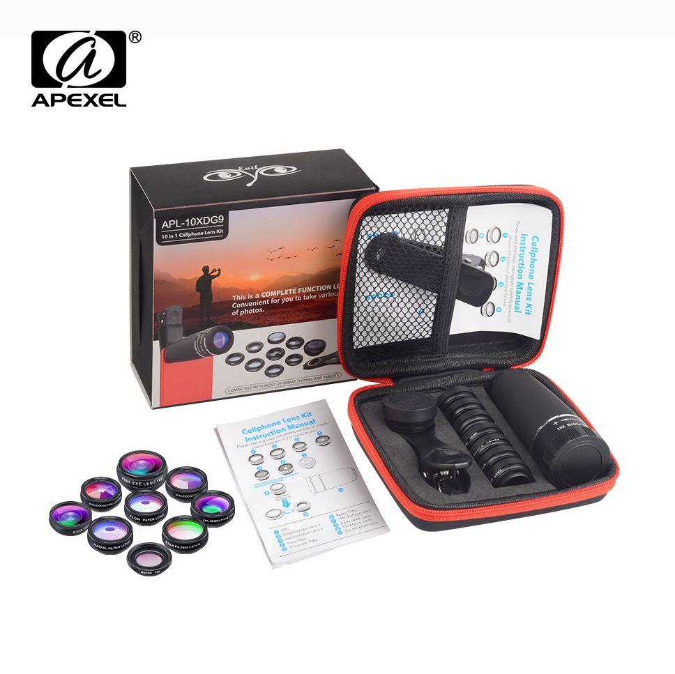APEXEL 1 Set objectif 10 en 1 Kit d'objectif de caméra de téléphone oeil de poisson large Macro étoile filtre objectifs CPL pour iPhone XS Mate Samsung HTC LG