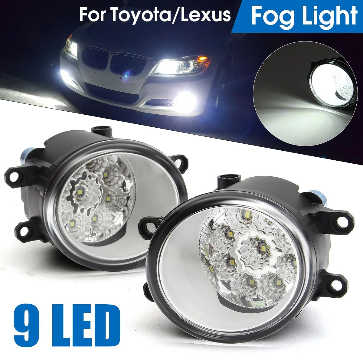 2Pcs Round Front LED Car Fog Light Lamp for Toyota Camry Corolla 2009-2013 Yaris 2006-2013 RAV4 2006-2012 for Lexus RX350/RX450