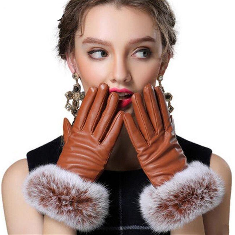 Autumn Gloves Women Genuine Rabbit Fur PU Leather Warm Gloves Black Mittens Winter Ladies Full Palm Touched Velvet Ladies G037