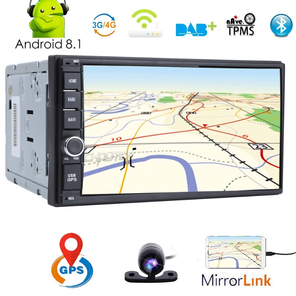 4QuadCore 2GB+16GB 7''Android8.1 Universal Car No DVD Radio Audio Stereo GPS Navigation 2Din Tape Recorder Head Unit SWC 4G WIFI