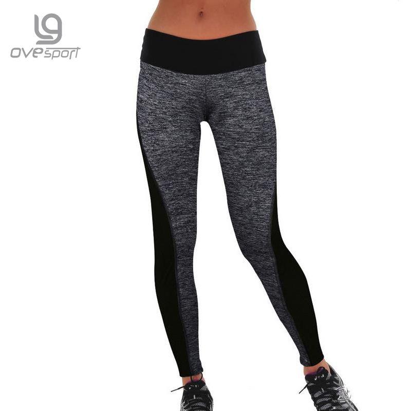 Plus la Taille Noir/Gris Femmes de Fitness Leggings D'entraînement Pantalon Taille Haute Leggings Dames Sportives Leggings Rapide-séchage pantalon