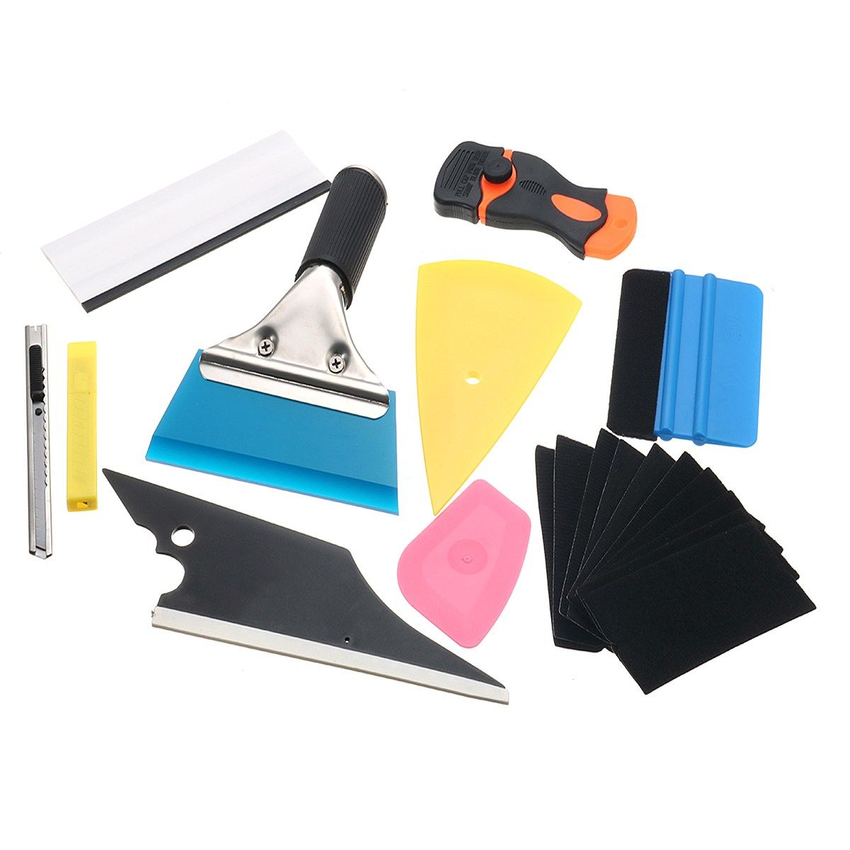 Professional 10pcs Window Tint Tools Car Wrapping Application DIY Kit Vinyl Sheet Squeegee