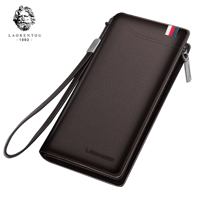 LAORENTOU Men Wallets Genuine Cow Leather Long Clutch Zipper Wallets for Business Men Soft Leather Clutch Bags New Arrival