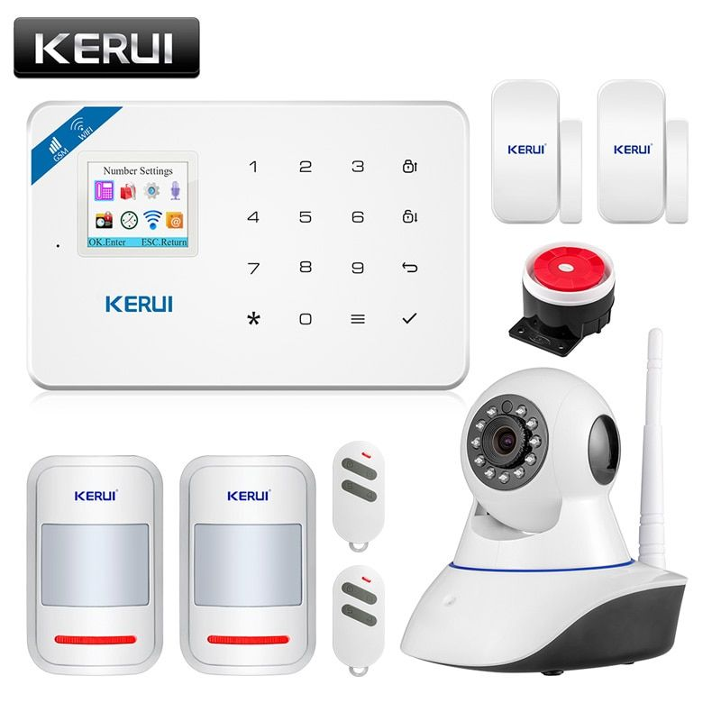 Wireless WiFi GSM Alarm System Android ios APP Control home Security Alarm System with PIR <font><b>motion</b></font> sensor IP camera