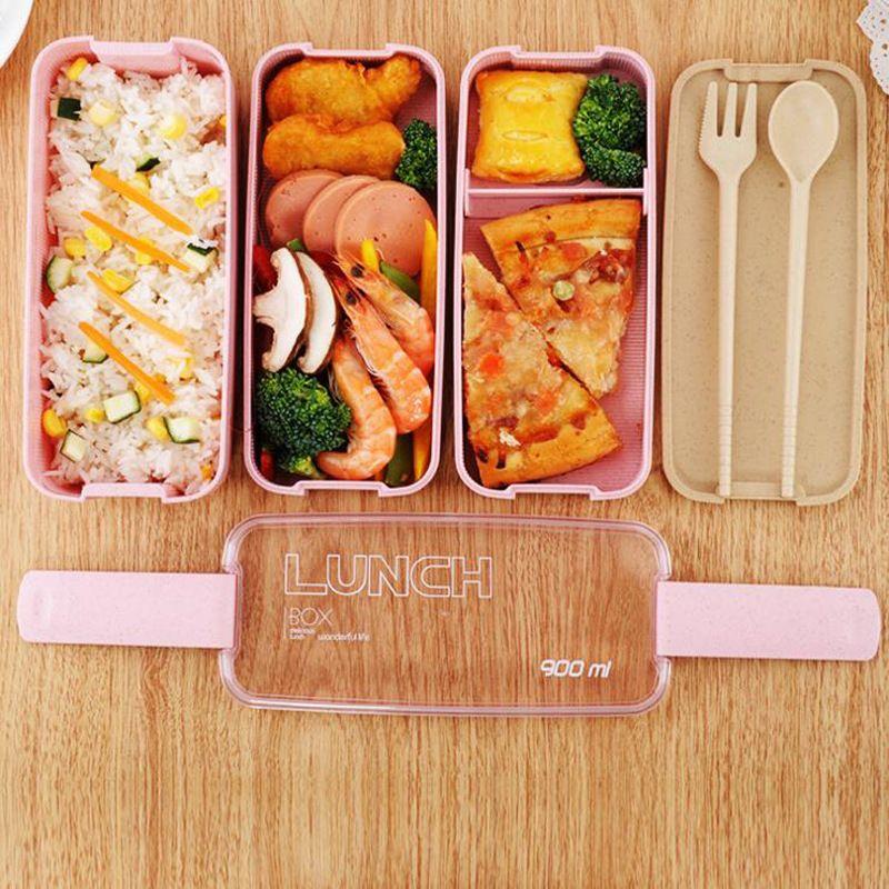 Boîte à Lunch matérielle saine de 900ml boîtes à Bento de paille de blé de 3 couches boîte à Lunch de récipient de stockage de nourriture de vaisselle de micro-ondes