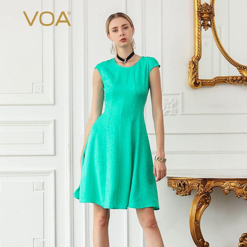 VOA Seide Jacquard Schlank Midi Kleider Frauen Süße See Grün Sommer Kleid Casual Große Größe Damen Einfache vestido Kleidung A8126