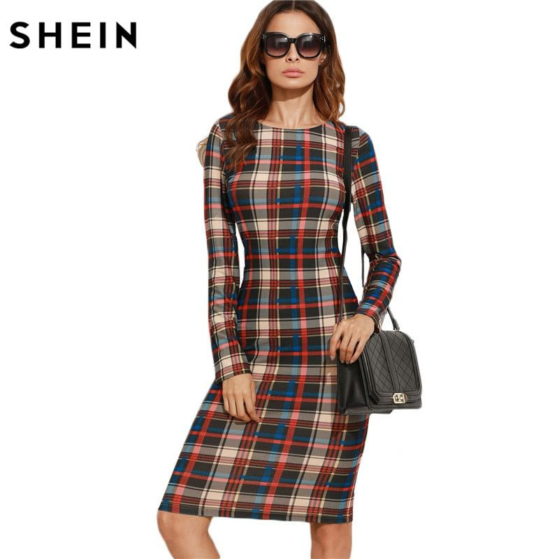 SHEIN Elegant Bodycon Dress Winter Autumn Dress Fall Women Multicolor Plaid Long Sleeve Knee Length Pencil Dress