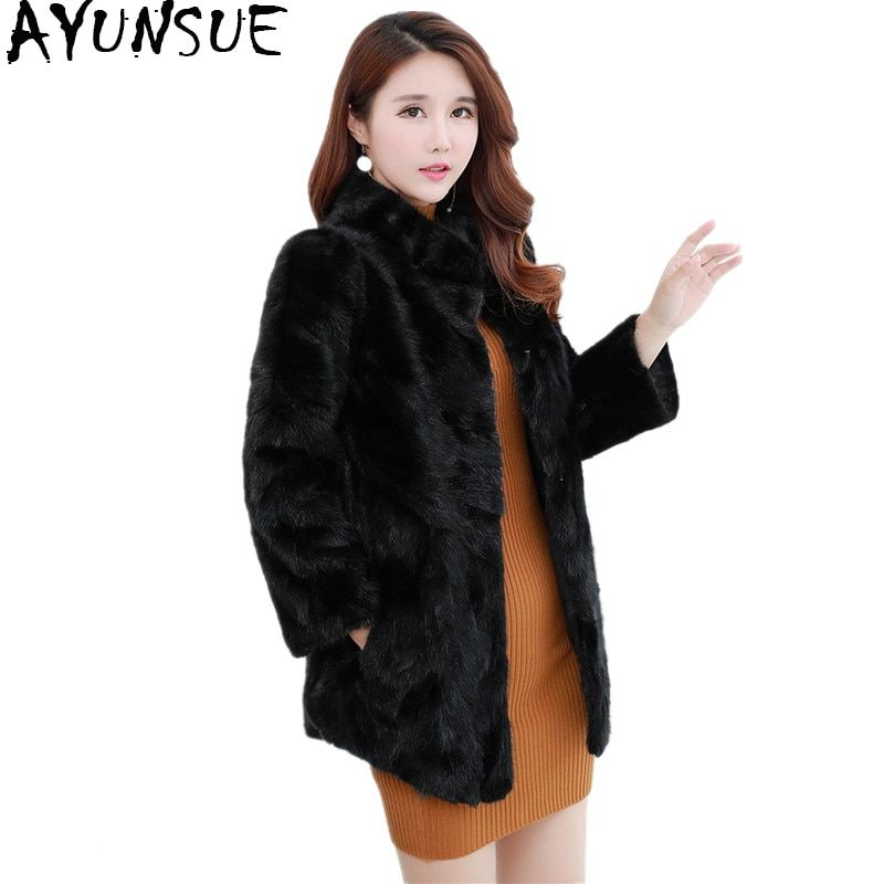 AYUNSUE 2018 New Luxury Real Mink Fur Coats Women Winter Thick Warm Natural Fur Jacket Outerwear Genuine Fur Coat Female WYQ1577