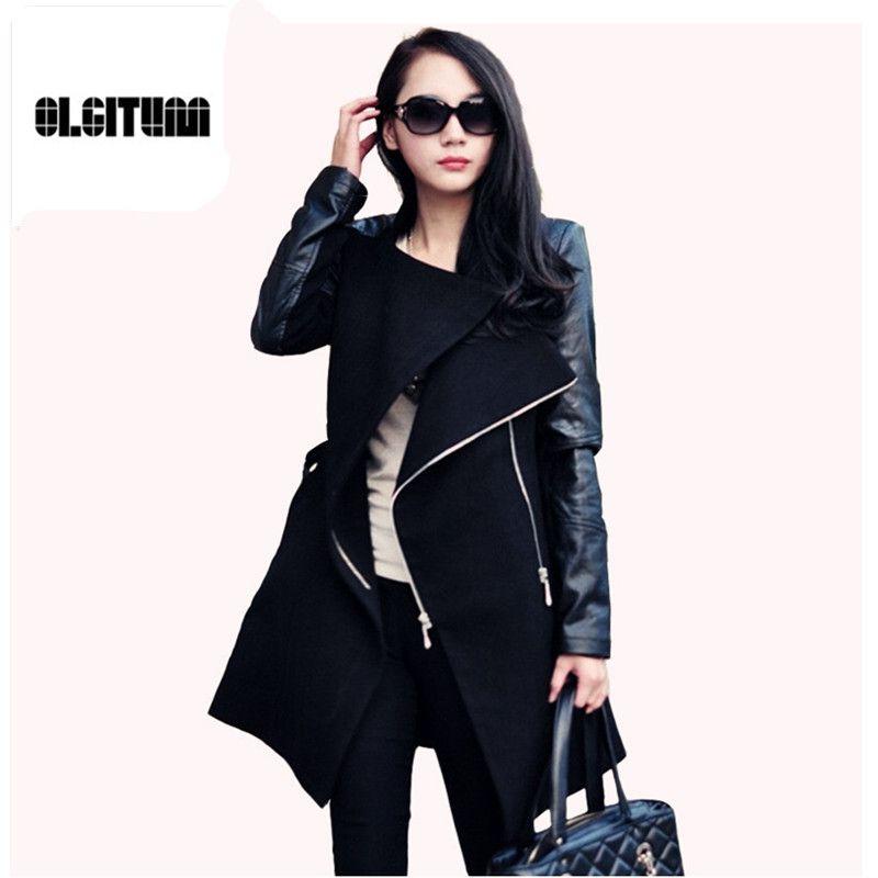 2018 Winter&Fall  Fashion women coat Patchwork Womens Long Wool PU Leather Sleeve Jacket Coat Windbreaker Free Shipping WC064