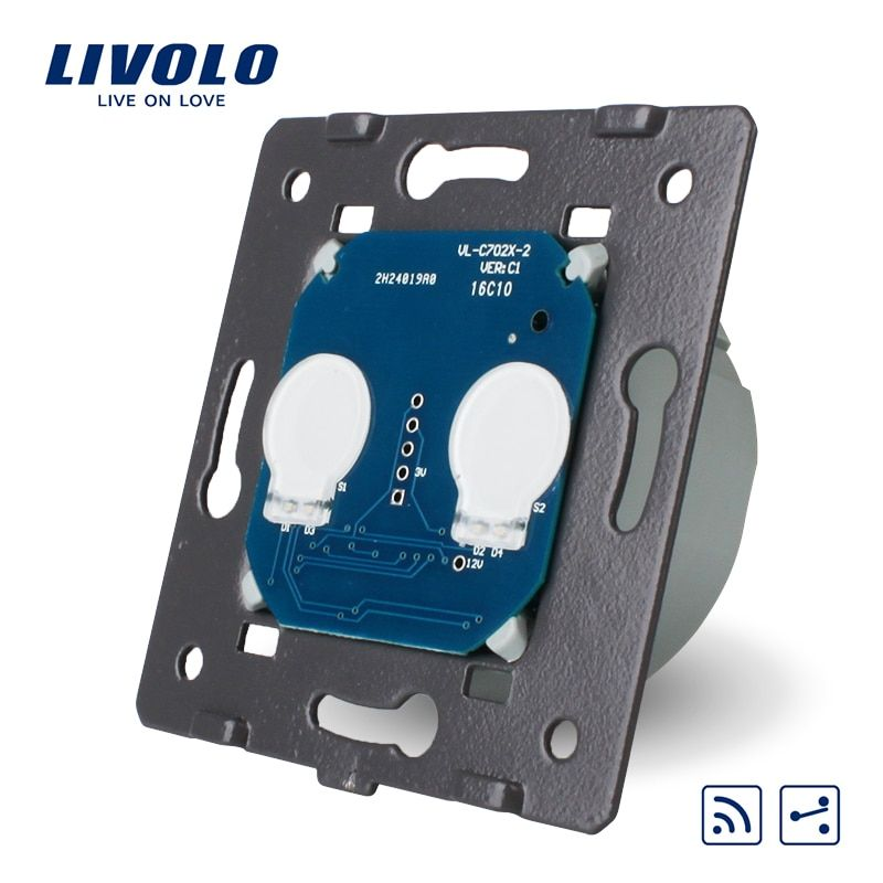 Livolo EU Standard, Touch Remote Switch Without Glass Panel, 2 Gangs 2 Way, AC 220~250V + LED Indicator, VL-C702SR