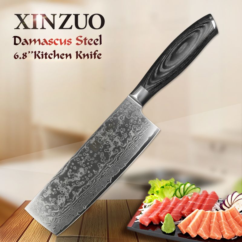 XINZUO 6.8'' inch Nakiri Kitchen Knives 67 Layers Japanese Chef Knife Cook VG10 Damascus Steel Slicing Knife Pakka Wood Handle