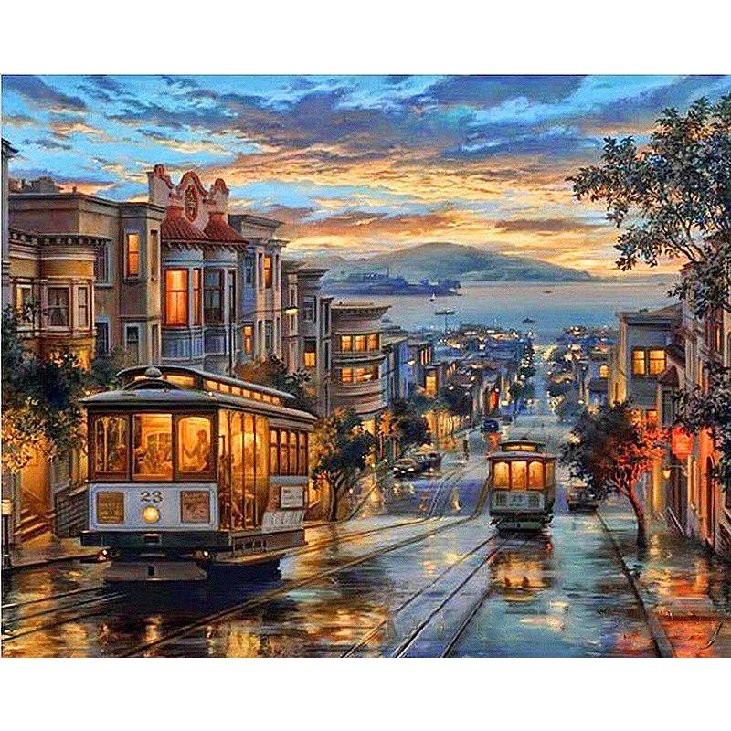 Peinture par numéros bricolage livraison directe 50x65 60x75cm nuit rue rétro bus paysage toile mariage décoration Art image cadeau