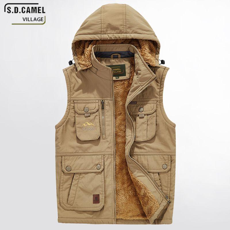 Men's Hoodies Winter Jackets Thick warm Vest Sleeveless Jacket Plus Big Size Waistcoat Fashion 5XL Many Pocket Army Uniform