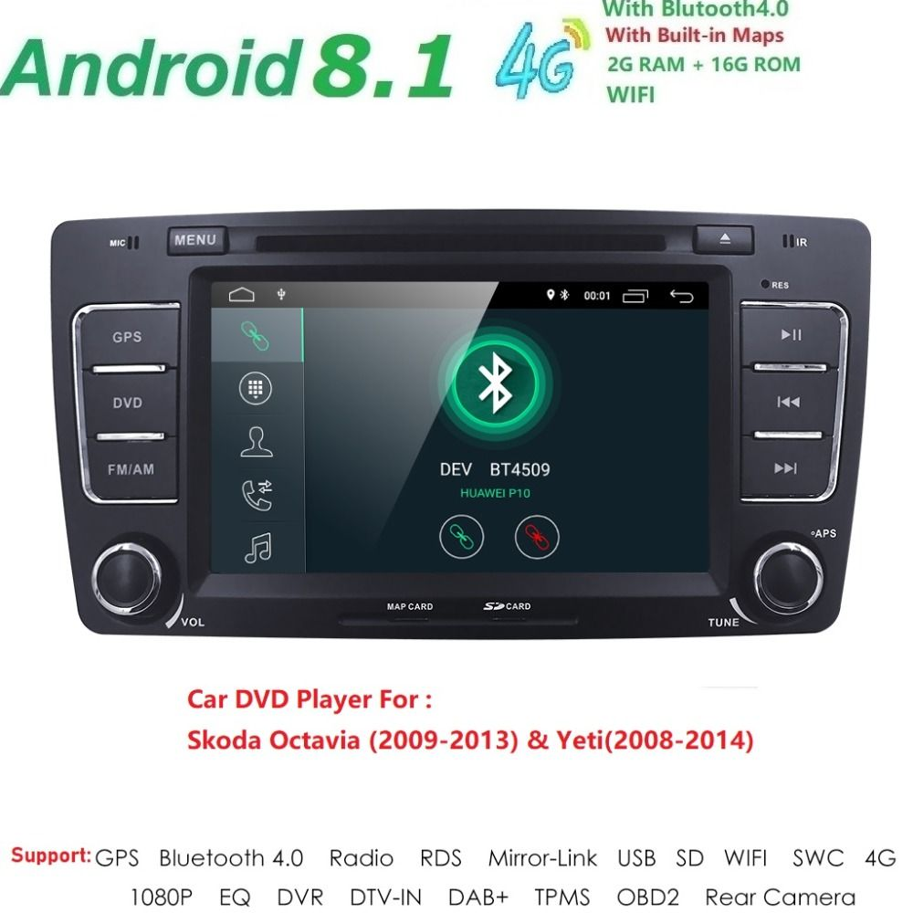 2Din 7''Android8. 1 auto DVD Player Für SKODA Octavia 2009-2013 Yeti GPS Navigation Radio SWC Multimedia Steuergerät TUPFEN TPMS BT DVBT