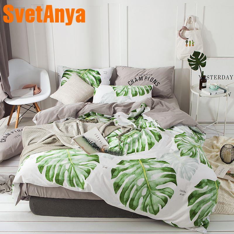Svetanya Leaves Print Sheet Pillowcase Quilt Cover Sets 100% Cotton Bedlinen Twin Double Queen Size Bedding Set