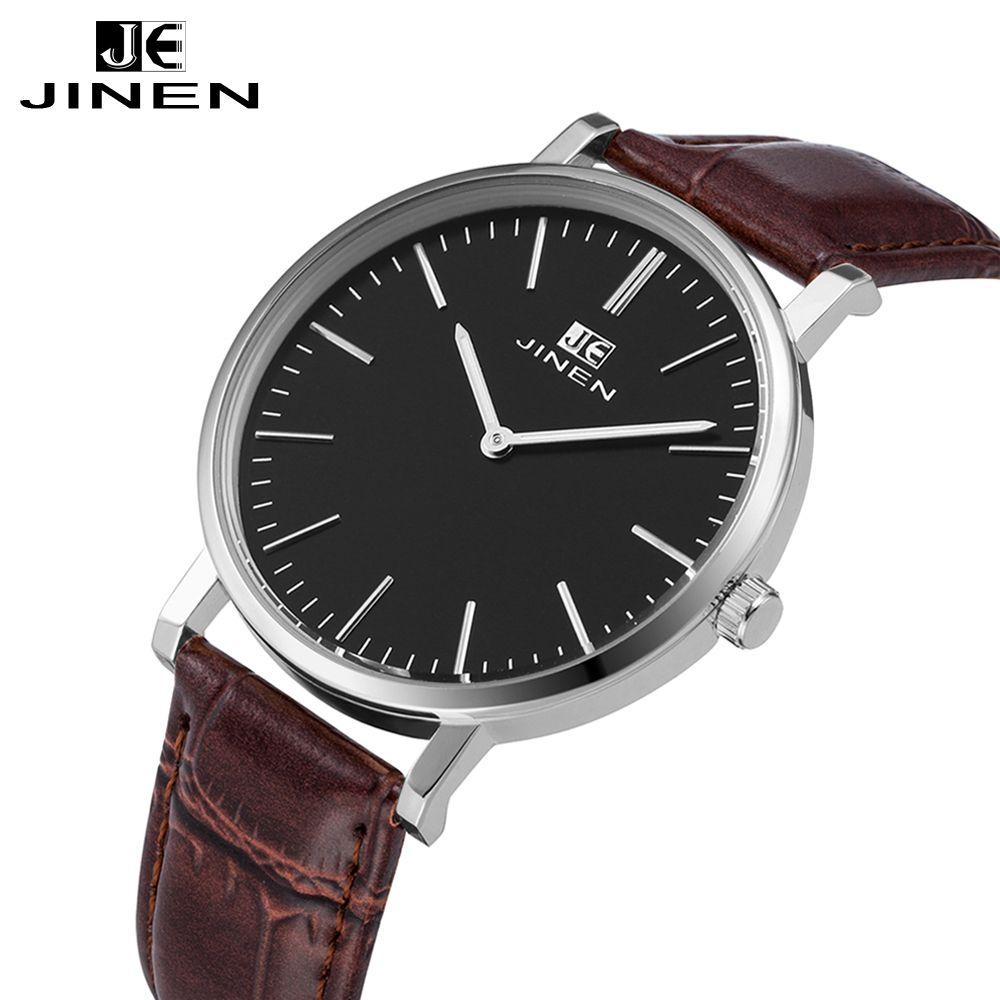 JINEN Casual lederband Uhr für männlichen ultradünne Elegante Klassische Männer Luminous Analog Geschäfts Quarz Armbanduhr